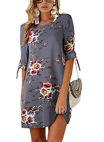 1aad092e05d46 Minetom Robe de Femme Soiree Elégante Tunique Robe Été Demi Manches Imprimé  Floral Mini Robe Courte