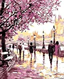Dorara DIY Oil Painting Paint By Number Hand Paintworks 16×20 Inches Romantic cherry blossoms road