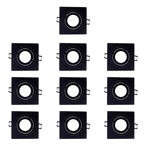 Wonderlamp W-E000118 Empotrable Cuadrado Basculante Negro