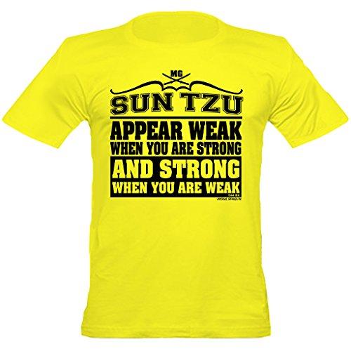 Urban Urban ShaolinSun Tzu Stong Wenn Schwache Zitieren Zitieren Fitted T-Shirt, Klein, Gelb