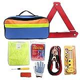 Wisamic Pannenhilfe Auto Auto Notfall Kit mit Jumper Kabel, Abschleppseil, Warndreieck, Sicherheit Weste, Taschenlampe, Sicherheit Hammer