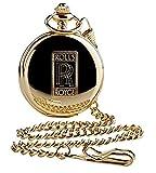 """The Luxury Vault Savonette-Taschenuhr mit """"Rolls Royce""""-Logo, Goldfarben, 24 kt vergoldet, mit Kette, in Holz-Geschenkbox"""