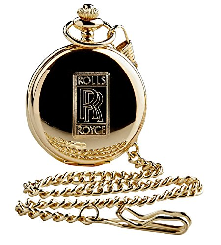 """The Luxury Vault Savonette-Taschenuhr mit \""""Rolls Royce\""""-Logo, Goldfarben, 24 kt vergoldet, mit Kette, in Holz-Geschenkbox"""