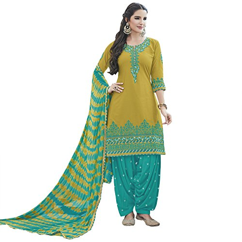 KVS FAB Musturd & Teal Cotton Embroiderd Patiala Un-stitched Dress Material