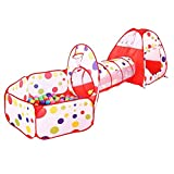 AAJ Children's Play Tent Tunnel Cubby-Tube-Teepee Playground 3-in-1 Pop-up Indoor Outdoor Game House Toy Hut Easy Fold Ocean Ball Pool with Basketball Hoop (BALLS NOT INCLUDED) (RED)