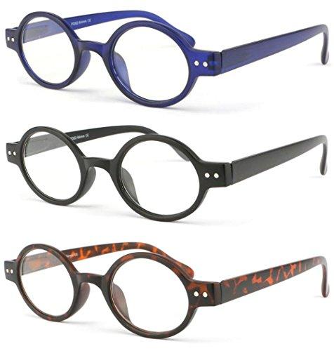 Lot 3 lunettes de lecture rondes mode avec charnières à ressort Dok (+2.5) 8d184cb768d1