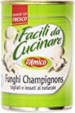 D'Amico - I Facili da Cucinare, Funghi Champignons, tagliati e lessati al naturale - 400 g