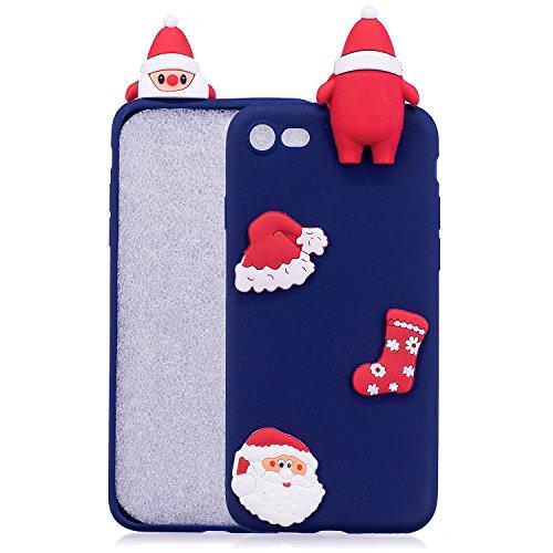Girlyard Custodia per Apple iPhone 7 Plus / 8 Plus Antiurto - Cover in Silicone TPU - Back Case Protettiva Posteriore per Cellulare Babbo Natale Nero Babbo Natale Blu Scuro