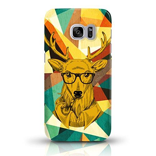 """JUNIWORDS Handyhüllen Slim Case für Samsung Galaxy S7 - Motiv """"Altrosa, Chevron, Marmor"""" Schutzhülle für Ihr Smartphone Pfeife rauchender Hipster-Hirsch"""