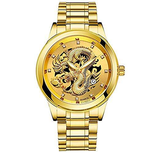 YEARNLY Herren Gold Drachen Uhr Automatik Männer Automatikuhr Militär Wasserdicht Schwarz Edelstahl Luxus Armbanduhren Mann Leuchtende Steampunk Hand Wind Analoge Klassisch leuchtend Uhren -