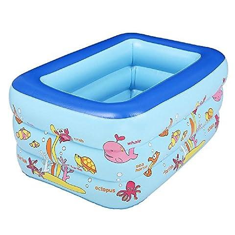 Kinder Karikatur PVC aufblasbaren Pool Kind Planschbecken Badewanne Quadrat Qualität für Kinder (Farbe zufällig) , 130cm