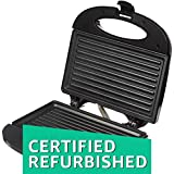 (Certified REFURBISHED) Amazon Brand - Solimo Non-Stick Grill Sandwich Maker (750 watt, Black)