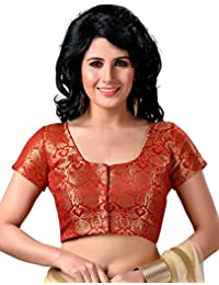 STUDIO SHRINGAAR WOMEN'S LATEST TRADITIONAL RICH RED AND GOLD BENARAS BROCADE FULLY STITCHED SAREE BLOUSE WITH SHORT SLEEVES