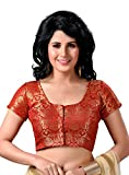 #3: STUDIO SHRINGAAR WOMEN'S LATEST TRADITIONAL RICH RED AND GOLD BENARAS BROCADE FULLY STITCHED SAREE BLOUSE WITH SHORT SLEEVES