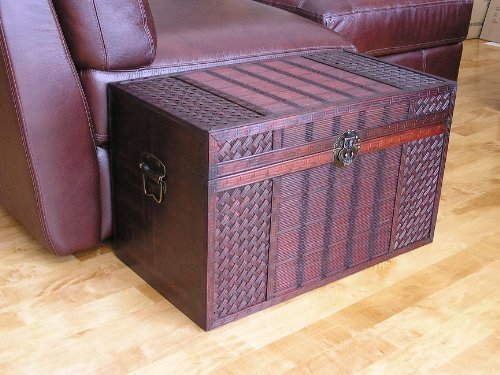 Original Hawaii Wooden Chest Wood Steamer Trunk - Medium Trunk by China