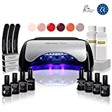 Kit Semipermanente Unghie Professionale - 6 Smalti Semipermanenti Fornetto Led Primer Base Top Coat