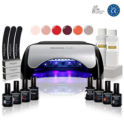 Kit manucure vernis semi permanent  6 Vernis à ongles & Lampe UV / LED 48W Unic - Coffret...