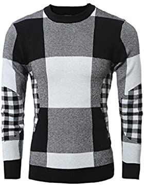 Uomini maglione autunno e inverno casual round maglione collo di grandi dimensioni Slim, nero,