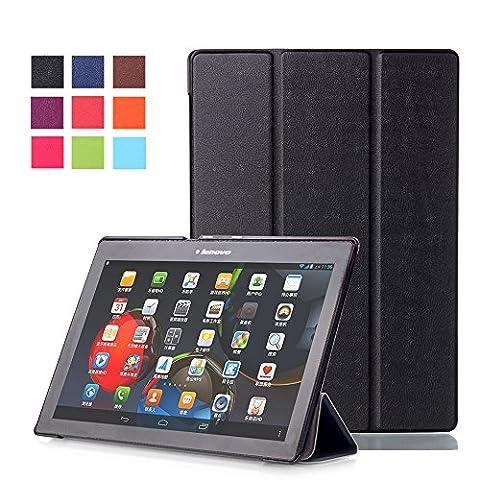 Lenovo Tab 2 A10-70 Case Étui Housse,Ultra Slim étui Housse en Cuir Coque avec Support pour Tablette Lenovo Tab 2 A10-70 / Tab 2 A10-30 de 10 Pouces (2015 Edition) Smart Cover Case Housse Pochette avec Stand Fonction (Noir)