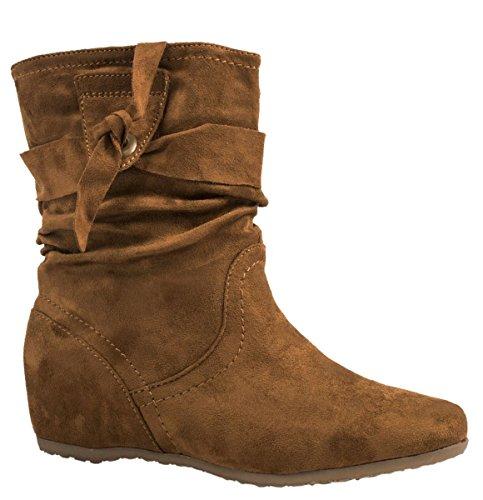 Elara Damen Schlupfstiefel , Bequeme Klassiche Stiefeletten , Flache Boots camel 38 EU (Stiefel Flache Damen Camel)