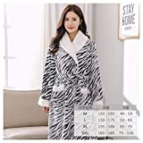 OMFGOD Der Frauen Winter Bademantel dick lang Flanell Zebra Print Schlafanzug Mode Bequem Freizeit Nacht Kleid, Bild, L