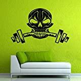Schädel Silhouette Wandaufkleber Home Rooms Decor Vinyl Wandmalereien Schädel Gewicht GYM Fitness...