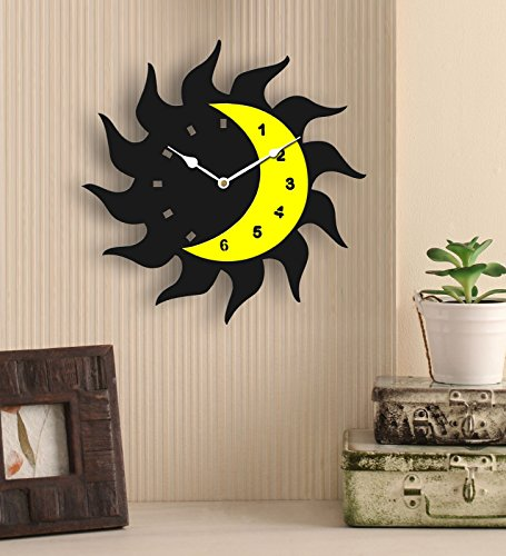 Sehaz Artworks Fire Moon Black and Yellow Wood Wall Clock (25.5 cm x 25.5 cm x 2.8 cm)