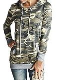 Minetom Femmes Sweat shirts Camouflage Impression Pocket Manches Longues Hoodie Sweatshirt à Capuche Hauts Blouse Camouflage FR 36