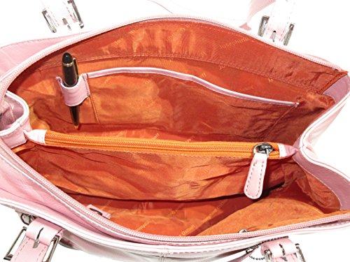 Josybag Ledertasche Oslo 4 Reißverschlussfächer handgefertigt Shopper Rosa/ Glattleder