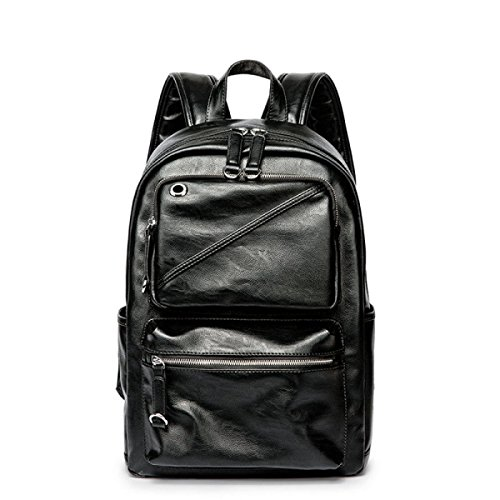 Solid Color Nieten (Rucksack Herren PU-Leder Solid Color Student Bag,Black-OneSize)