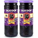 Olicoop Black Whole Olives, 450g, Pack of 2, Product of Spain