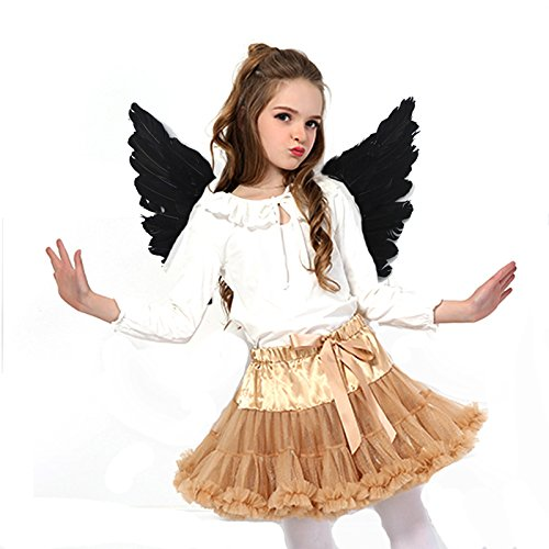 Engelsflügel Engel Flügel aus Federn Engel Fee Flügel Kostüm Kinder für Weinachten Halloween Party Karneval Dekoration Cosplay (Kinder 45 * 35 cm, Schwarz) (Schwarzer Engel Kostüm Für Kinder)