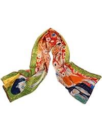 """Nella-Mode SEIDENSCHAL Seidentuch Kunstdruck nach Gustav Klimt """"Die Hoffnung"""" (grün), Jugendstil, Schal 100% Seide, 160x43 cm"""