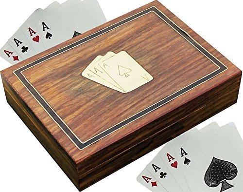 Titular de la tarjeta de madera para jugar a las cartas - 2 mazos de cartas de calidad premium - decoraciones de tarjetas de juego -15.2 x 11,4 x 3,8 cm