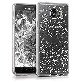kwmobile Étui transparent en TPU silicone pour Samsung Galaxy A3 (2016) en argenté transparent Design flocons