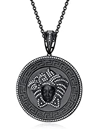 "Silvernshine 1.25 Ct Round Cut D/VVS1 Diamond Versa Pendant 18"" Chain In 14K Black Gold Over"