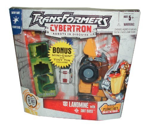 Transformers Exclusive Cybertron Series Earth Planet Deluxe Class 6 Inch Tall Robot Action Figure - LANDMINE with Missile Launcher, 1 Missile and Cyber Planet Key Plus Bonus 3 Inch Tall Mini-Con DIRT BOSS with Tin Box by Transformers - 3-in-1-transformer-spielzeug
