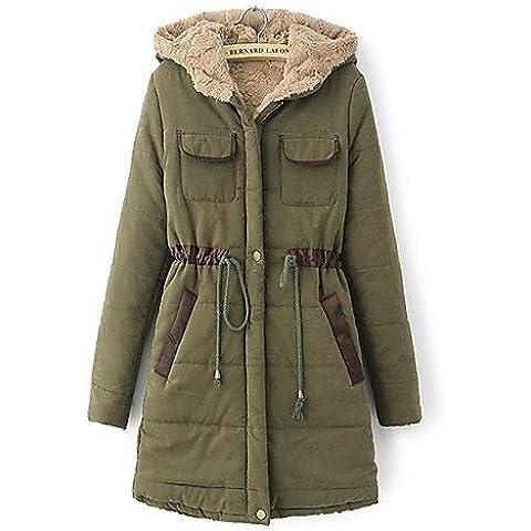 JY$ZB coko&nueva moda de algodón de grado superior otoño invierno occidental delgada con capucha de las mujeres De medio largo , emerald-s , emerald-s