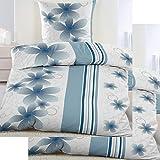 4-tlg. Biber Winter Bettwäsche 2x (135 x 200 + 80x80 cm), blau weiß Blüten, Baumwoll Mischgewebe (40101)