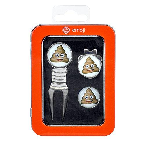 Emoji Unisex Caca arreglapiques, Enganche para Gorra y Marcador de Pelotas de Set de Regalo, Color Naranja