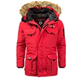 Geographical Norway Herren Winter Parka Beco Red - L - mit UD Beanie