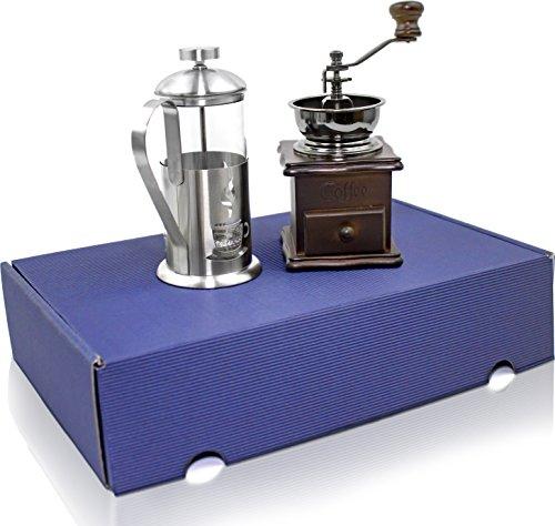 Kaffee Geschenk Set - 2 teilig – Kaffeemühle und Kaffebereiter- Stempelkanne das perfekte Geschenk für Liebhaber im blauen Geschenkkarton