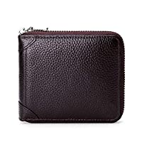 Men's Wallet, Anti-theft Brush, Fully Shielded NFC/RFID Scanning, Zipper, Cowhide Material, Casual Vintage, 11.5 * 10 * 2cm (Brown)