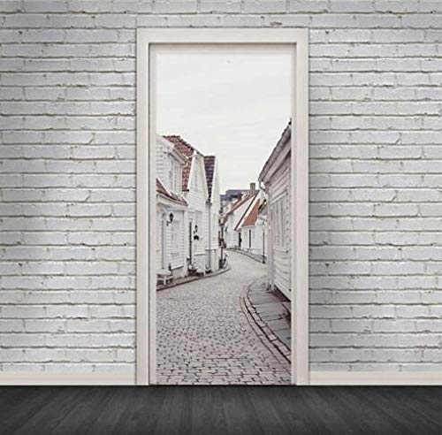 Sticker Mural Canvas Machine Printing Creative 3D Old Buildings Picture Self Adhesive Waterproof Home Decor Durable Vintage Door Art Sticker 77 * 200Cm -