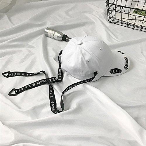 Hat Koreanische Version der wilden Baseballmütze des wilden Mützenstreamer des Sommerstraßen-Hip-Hop-Hip-Hop-Hutmädchen-Hutes (Farbe : Weiß)