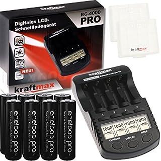 Kraftmax BC-4000 Pro Ladegerät und 8x Pansonic Eneloop PRO XX AA / Mignon Akkus - Neueste Generation - 2550 mAh(min 2500 mAh) Hochleistungs Akku Batterien in Kraftmax Akkuboxen V5