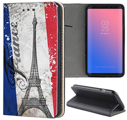 S3 Neo Hülle Premium Smart Einseitig Flipcover Hülle Samsung S3 Neo Flip Case Handyhülle Samsung S3 Motiv (1178 Paris Eifelturm Frankreich Blau Weiß Rot) ()
