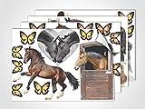 GRAZDesign 411003_4 Fenstersticker Pferde | Fensterbild für Dein Kinderzimmer | Glasdekor für Mädchenzimmer (DIN A4 (4Stück))