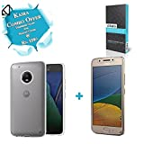 #8: KAIRA Tempered Glass + Transparent Soft Ultra Slim Back Cover Case Motorola Moto G5