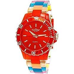 NY London Rainbow Damen Herren Kunststoff Armband Uhr bunte Kunststoff Damenuhr Herrenuhr Armbanduhr Rot Blau Gelb inkl Uhrenbox